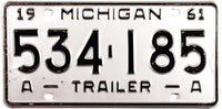 1961 Michigan A Trailer License Plate