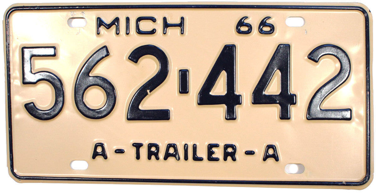 1966 Michigan A Trailer License Plate