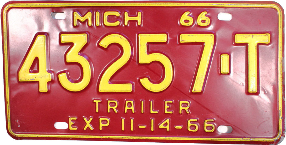 1966 Michigan Trailer License Plate