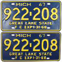 1967 Michigan Farm License Plates