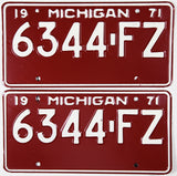 1971 Michigan Commercial License Plates