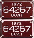 1972 Michigan Boat License Plates