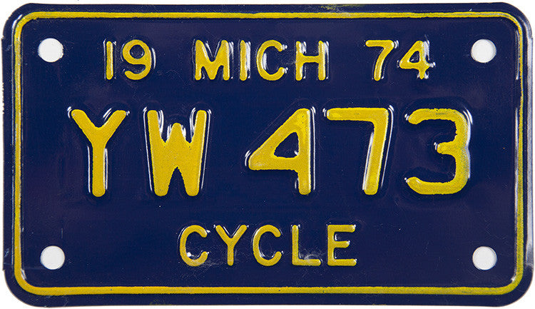 1974 Michigan Motorcycle License Plate Near Mint