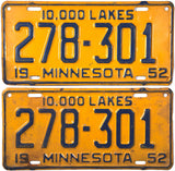 1952 Minnesota License Plates