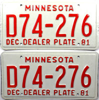 1981 Minnesota Dealer License Plates