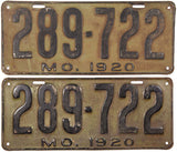 1920 Missouri License Plates