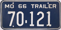 1966 Missouri Trailer License Plate