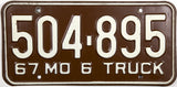 1967 Missouri Truck License Plate