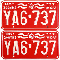 1976 Missouri License Plates