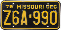 1978 Missouri License Plate