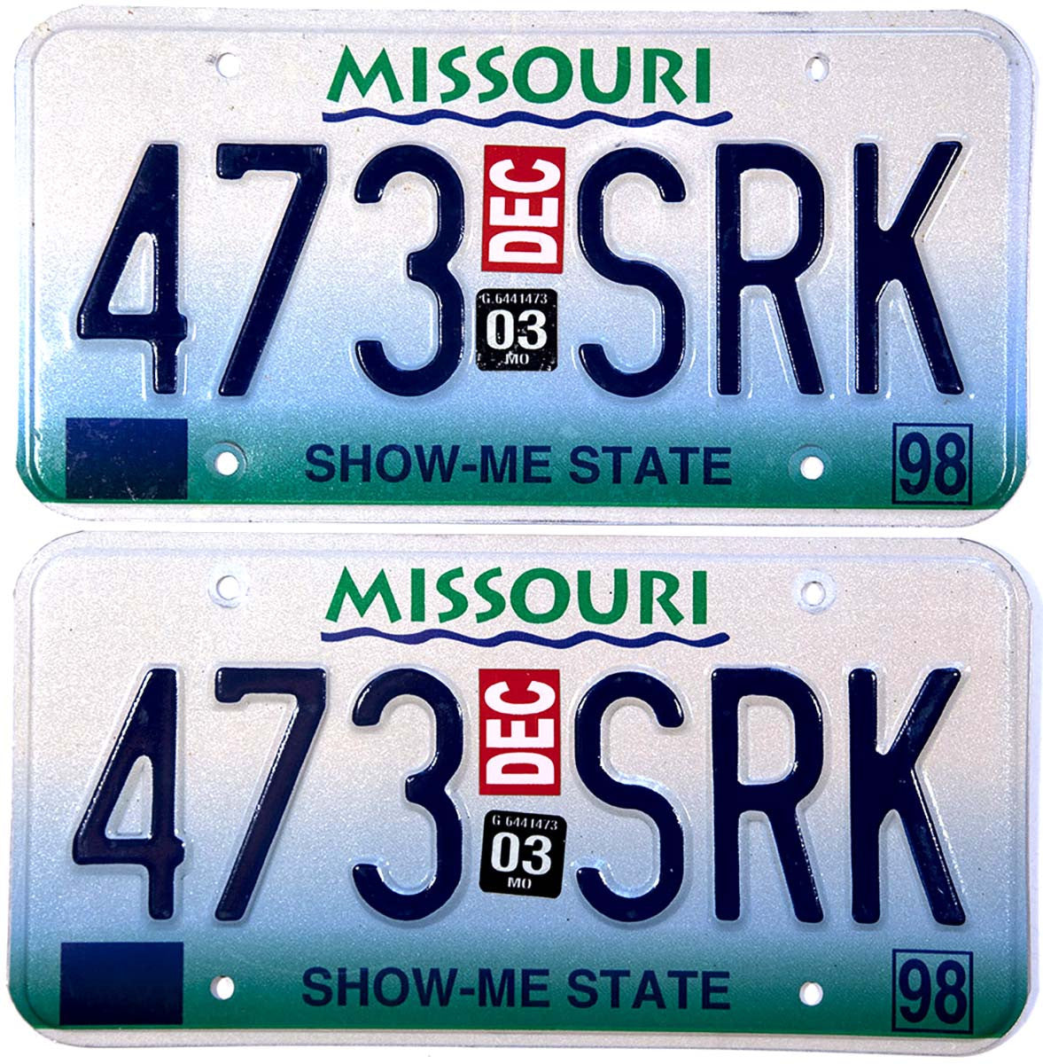 2003 Missouri License Plates