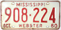 1960 Mississippi License Plate