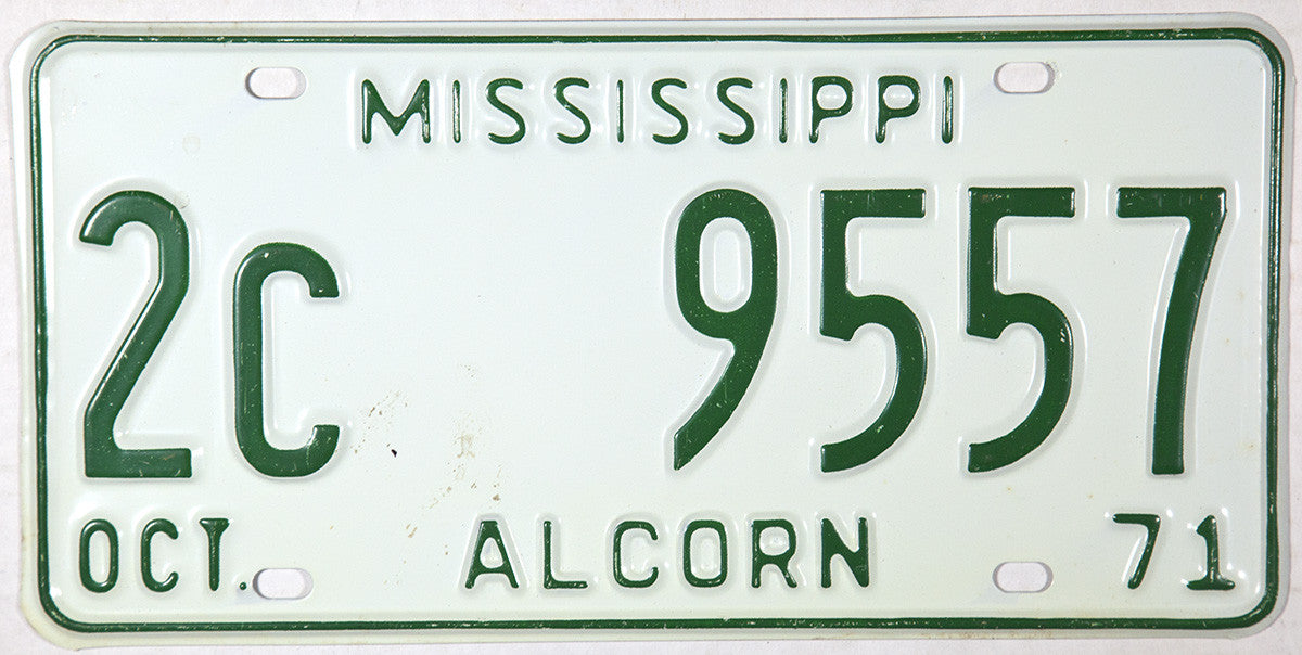 1971 Mississippi License Plate from Alcorn County