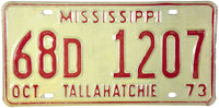 1973 Mississippi License Plate NOS Excellent
