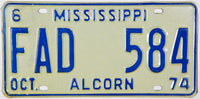 1974 Mississippi Private Commercial Truck License Plate