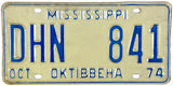 1974 Mississippi License Plate