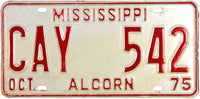 1975 Mississippi License Plate New Old Stock