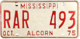 1975 Mississippi License Plate