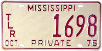 1976 Mississippi Trailer License Plate