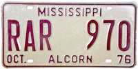 1976 Mississippi License Plate