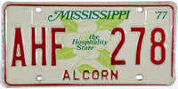 1977 Mississippi License Plate