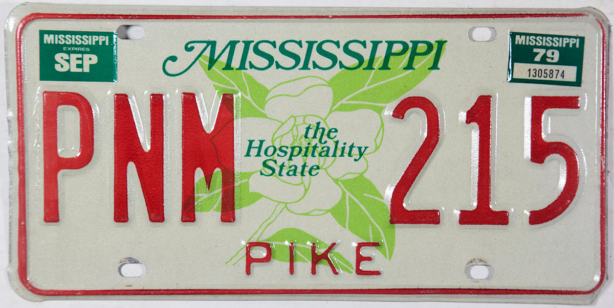 A 1979 Mississippi passenger automobile license plate