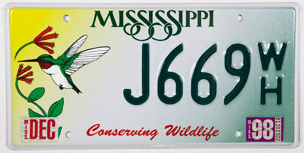 1998 Mississippi Hummingbird License Plate