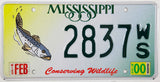 2000 Mississippi Trout License Plate