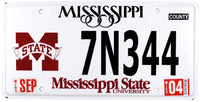 2004 Mississippi State College License Plate