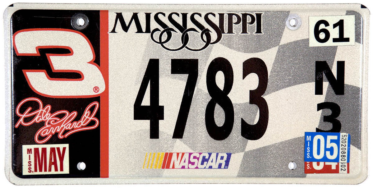 2005 Mississippi Dale Earnhardt Nascar License Plate
