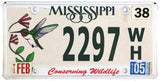 2005 Mississippi Hummingbird License Plate