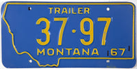 1967 Montana Trailer License Plate