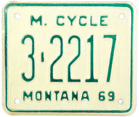 1969 Montana Motorcycle License Plate