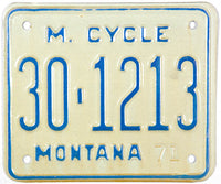 1971 Montana Motorcycle License Plate