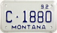 1992 Montana Motorcycle License Plate