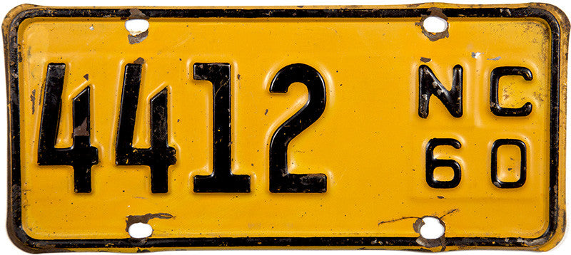 1960 North Carolina Motorcycle License Plate