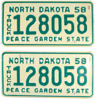 1958 North Dakota Truck License Plate