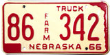 1966 Nebraska Farm License Plate