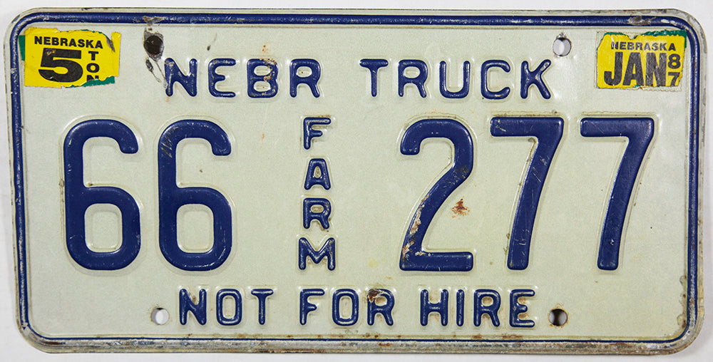 1987 Nebraska Farm License Plate