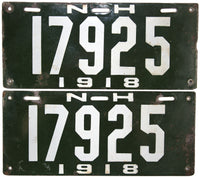 1918 New Hampshire License Plate