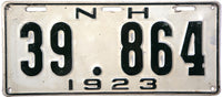 1923 New Hampshire License Plate