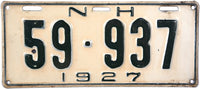 1927 New Hampshire License Plate