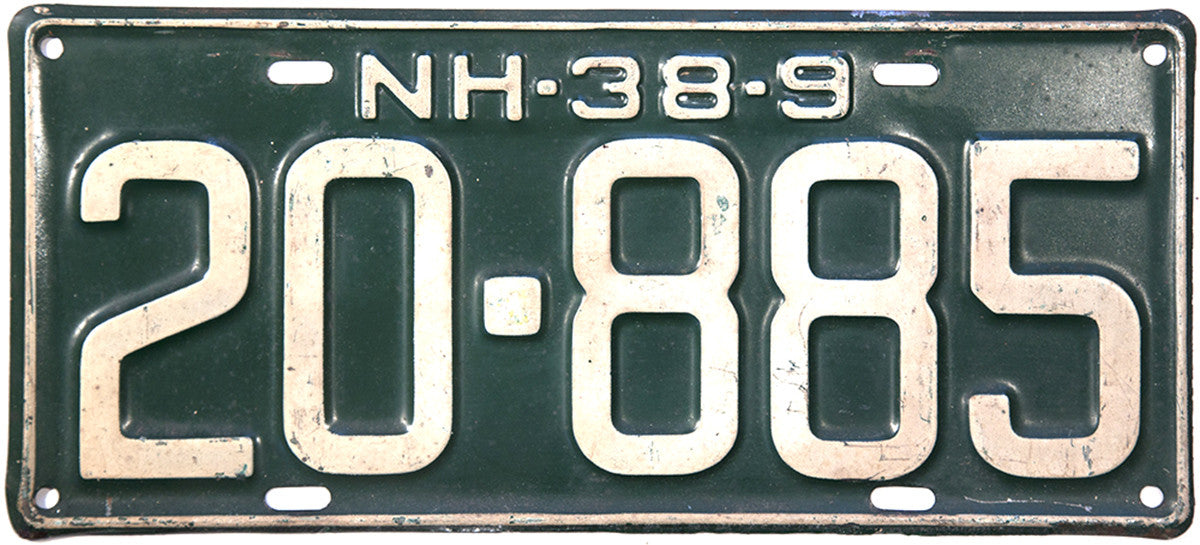 1938 - 39 New Hampshire License Plate