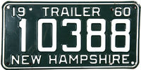 1960 New Hampshire Trailer License Plate