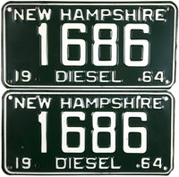 1964 New Hampshire Diesel License Plates Pair