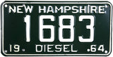 1964 New Hampshire Diesel License Plates Single Tag