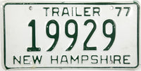 1977 New Hampshire Trailer License Plate