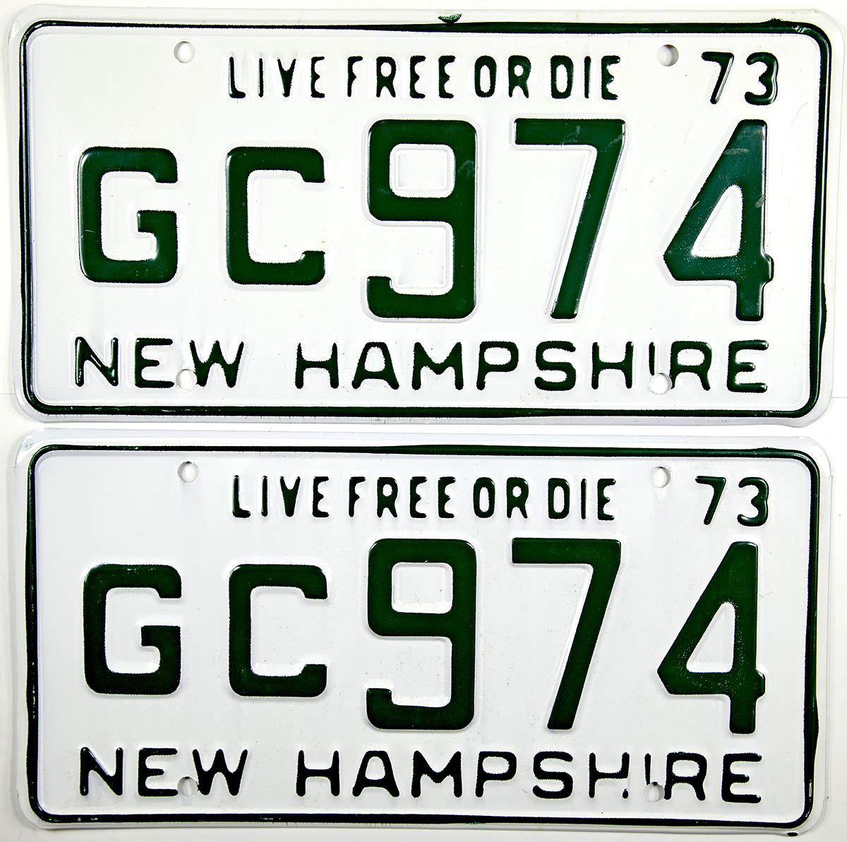 1973 New Hampshire License Plates New Old Stock