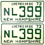 1973 New Hampshire License Plates