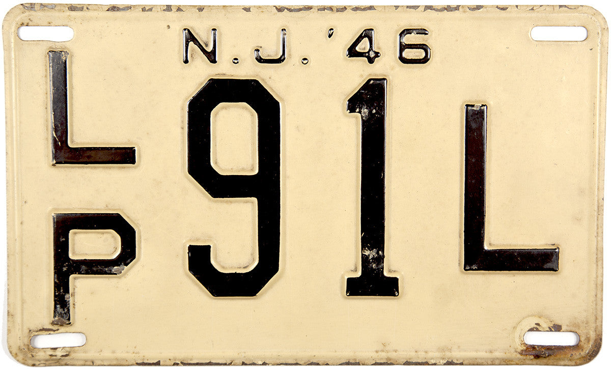 1946 New Jersey License Plate